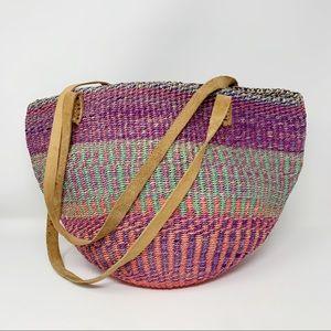 VTG Jute Sisal Woven Market Tote Bag